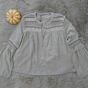 Zara Basic Embroidered Boho Ruffle Bell Sleeve Top